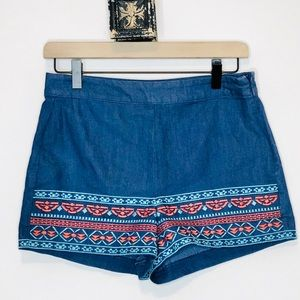 Flying Tomato Embroidered Aztec Print Shorts